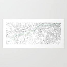 Boston marathon route in green Art Print