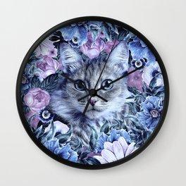Cat In Flowers. Winter Wall Clock