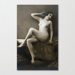 Vintage Nude Art Studies R48 Lady In Pose Canvas Print