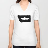 trout V-neck T-shirts featuring Hyalife Trout Montana  by Hyalife