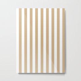 Narrow Vertical Stripes - White and Tan Brown Metal Print
