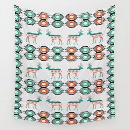 Festive deer pattern Wall Tapestry