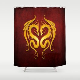 Yellow and Red Twin Tribal Dragons Shower Curtain
