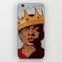 kendrick lamar iPhone & iPod Skins featuring King Kendrick by Gagegfx