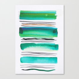 9  |181026 Lines & Color Block | Watercolor Abstract | Modern Watercolor Art Canvas Print