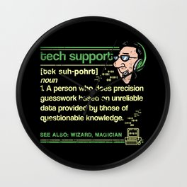 Tech Support Definition T Shirt Technical Assistance Gift Wall Clock