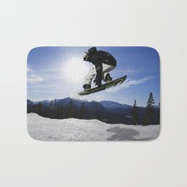 Born To Fly Snowboarder & Mountains Bath Mat