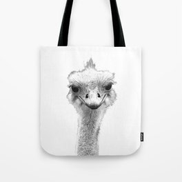 Black and White Ostrich Illustration Tote Bag
