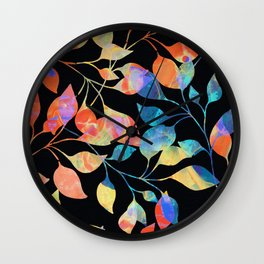 Colored Leaf Pattern Wall Clock