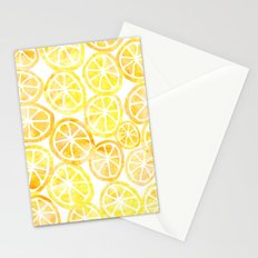 Yellow lemon in watercolor Stationery Cards