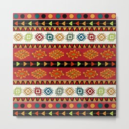 Abstract Ethnic pattern in vivid colors. Metal Print