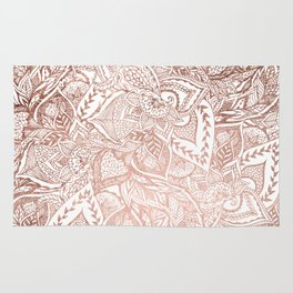 Chic hand drawn rose gold floral mandala pattern Rug