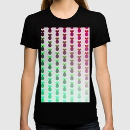 Red to green ombre rocket-shaped vegetables T-shirt