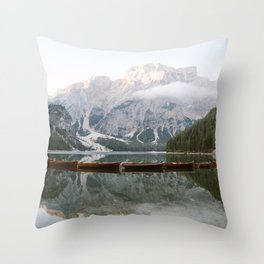 Lago di Braies | Fine art travel photography print Italy | Dolomites South Tirol Art Print Throw Pillow