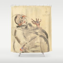 """Egon Schiele """"I Will Gladly Endure for Art and My Loved Ones"""" Shower Curtain"""