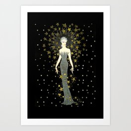"""Art Deco Sepia Illustration """"Star Studded Glamor"""" Art Print"""