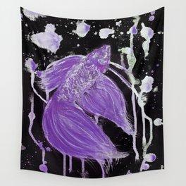 Purple Drip Spatter Betta Wall Tapestry