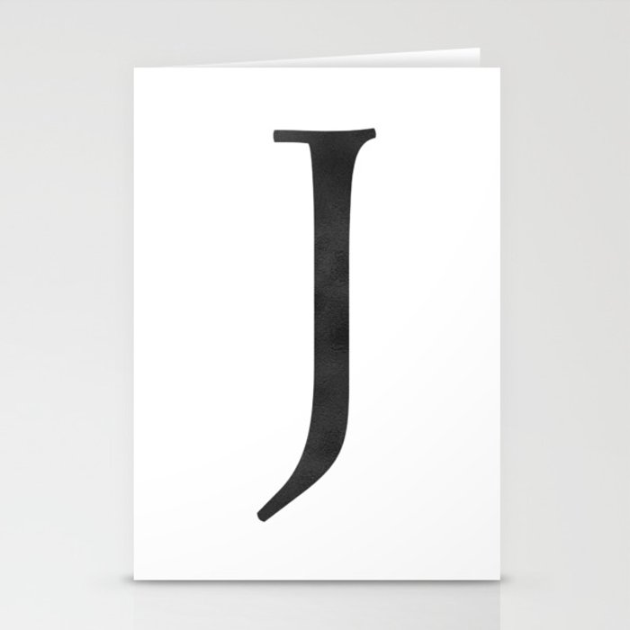 Letter J Initial Monogram Black and White Stationery Cards