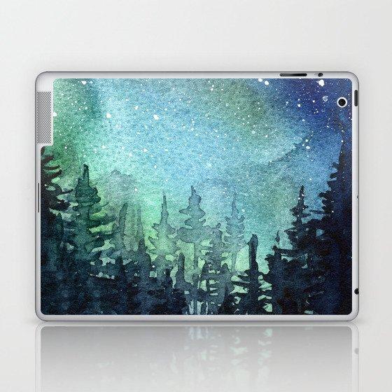 Galaxy Watercolor Aurora Borealis Painting Laptop & iPad Skin