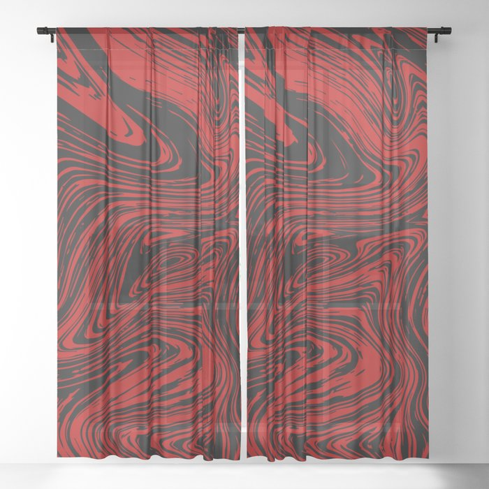 Red and black marble pattern Sheer Curtain