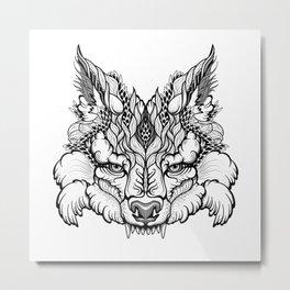 WOLF head. psychedelic / zentangle style Metal Print