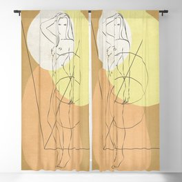 Interesting study over an nude Blackout Curtain