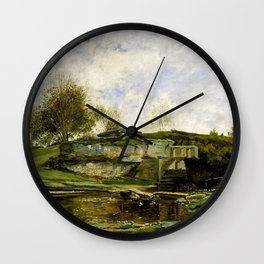 Charles-Francois Daubigny - Sluice In The Optevoz Valley - Digital Remastered Edition Wall Clock