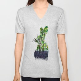 Verdant forest rabbit watercolor painting Unisex V-Neck