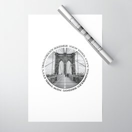 Brooklyn Bridge New York City (black & white with text) Wrapping Paper