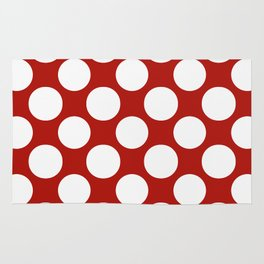 White & Red Navy Polkadot Pattern Rug
