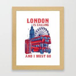 London calling shirt travel vintage England Framed Art Print