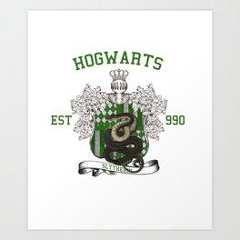 University Style School Shirt   Slytherin Art Print