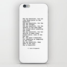 She was beautiful by F. Scott Fitzgerald #minimalism #poem iPhone Skin