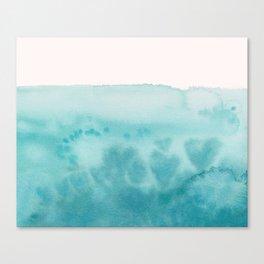Waves of Love Aqua Canvas Print