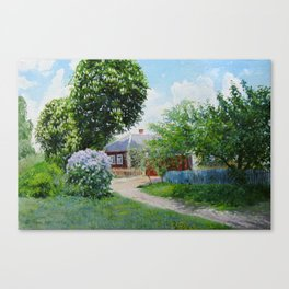 landscape. Spring. street in the countryside. original oil painting Canvas Print