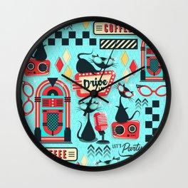 Retro Party Kitties V.02 Wall Clock