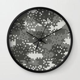 Pixel Urban Army Camo Pattern Wall Clock