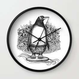 Penguin Dude in his Jammies, Catching some Waves at Local Beach Wall Clock