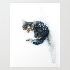 snowy cat Art Print