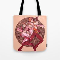 jjba Tote Bags featuring pattern bubble by vvisti