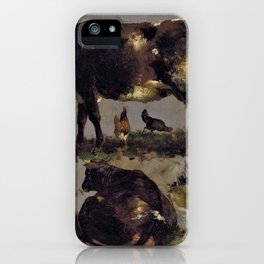 studies of cows hens roosters a goose and a sheep - Digital Remastered Edition iPhone Case