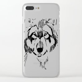 Wolf sketch Clear iPhone Case