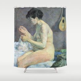 Study of a nude (suzanne sewing) - Paul Gauguin (1880) Shower Curtain