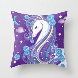 Magical Unicorn in Purple Sky Throw Pillow