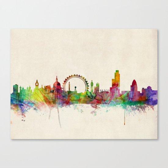 London Skyline Watercolor Canvas Print