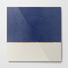Navy Blue Gold Greige Nude Metal Print