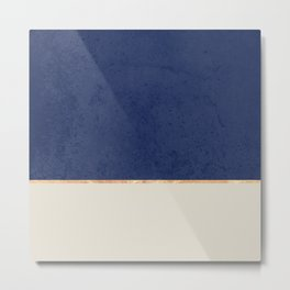Navy Blue Gold Greige Nude Metal Print
