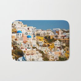 Colorful Seaside Santorini Island Homes Bath Mat