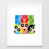 powerpuff girls Framed Art Prints featuring PowerPuff Girls by jdesignz