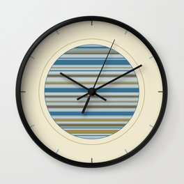 Stripey Design Gold Cream Brown Blues Wall Clock